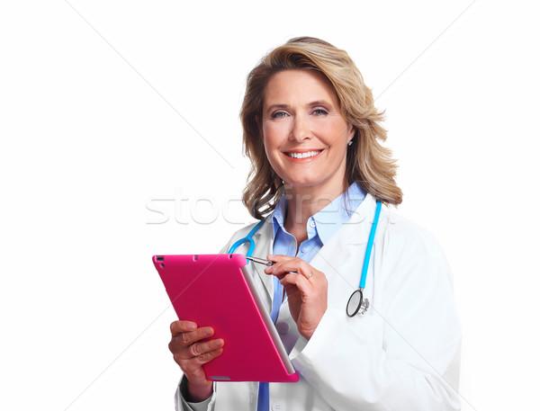 Stockfoto: Medische · arts · vrouw · glimlachend · geïsoleerd