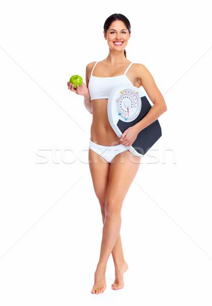 Jonge mooie fitness vrouw geïsoleerd witte vrouw Stockfoto © Kurhan