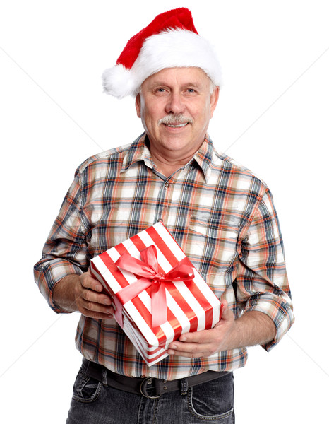 Happy Christmas man with xmas gift. Stock photo © Kurhan