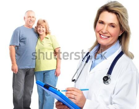 Foto d'archivio: Medico · anziani · Coppia · sorridere · medici · stetoscopio