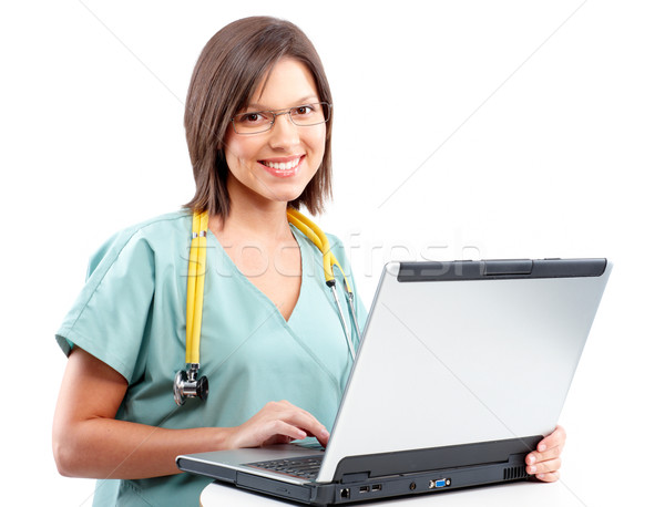 Photo stock: Médecin · souriant · médicaux · travail · portable · isolé