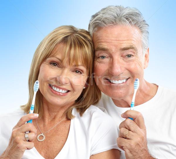 Anziani Coppia felice sani denti blu Foto d'archivio © Kurhan