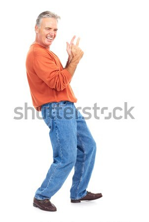 Idős férfi mosolyog boldog izolált fehér Stock fotó © Kurhan