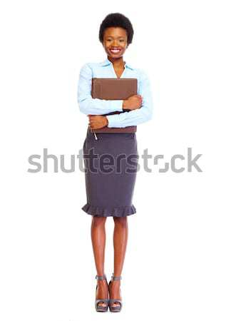 Fiatal afrikai üzletasszony izolált fehér üzlet Stock fotó © Kurhan