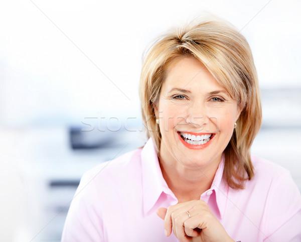 Photo stock: Heureux · femme · d'affaires · bureau · femmes · travaux · travailleur