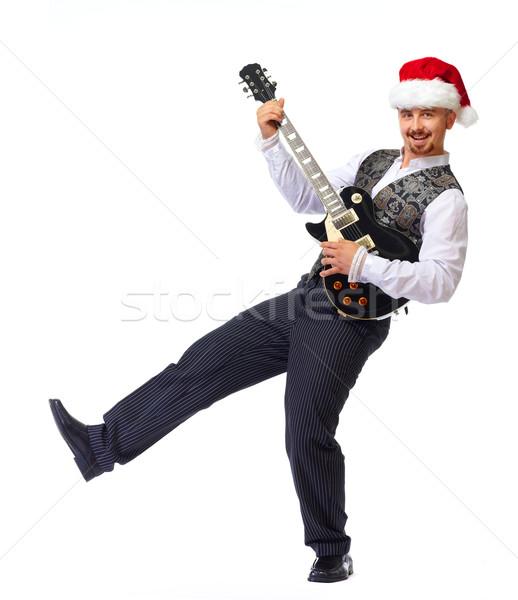 Рождества человека электрической гитаре изолированный белый Сток-фото © Kurhan