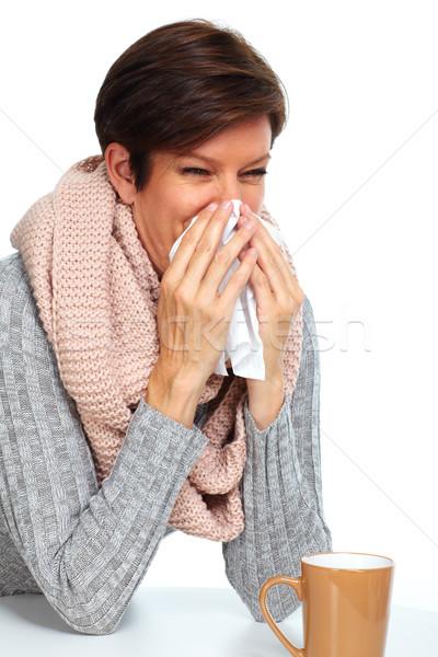 Woman with facial tissue having flu. Stock photo © Kurhan