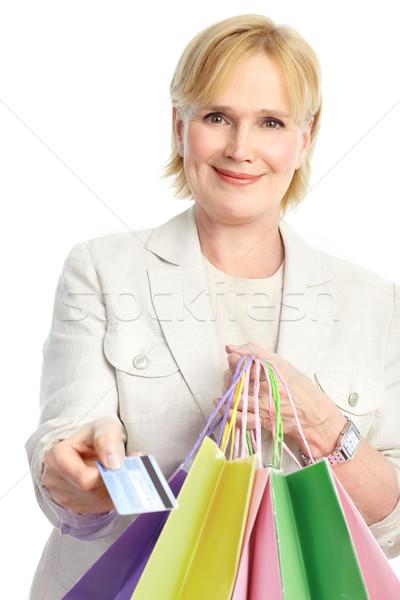 Winkelen vrouw gelukkig geïsoleerd witte Stockfoto © Kurhan