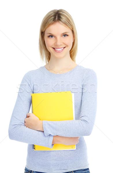 Diák fiatal mosolyog nő fehér könyv Stock fotó © Kurhan