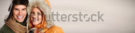 Feliz Pareja sonriendo cara primer plano invierno Foto stock © Kurhan