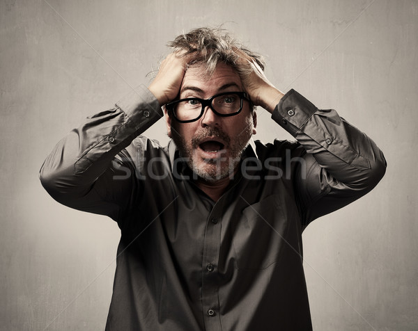 Bać przestraszony człowiek strach portret szary Zdjęcia stock © Kurhan