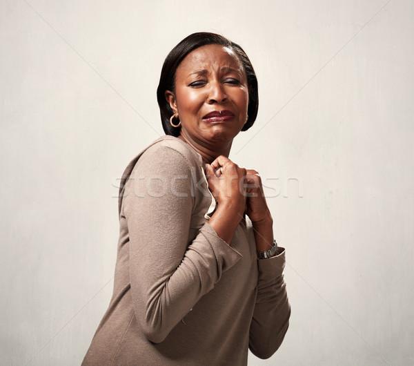 Walging afro-amerikaanse vrouw walgelijk gezicht hand Stockfoto © Kurhan