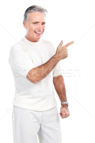 старший человека улыбаясь счастливым изолированный белый Сток-фото © Kurhan