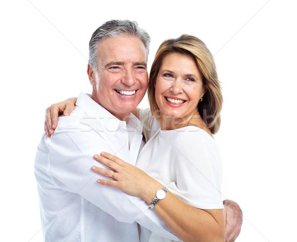 Szczęśliwy starszy para odizolowany biały rodziny uśmiech Zdjęcia stock © Kurhan