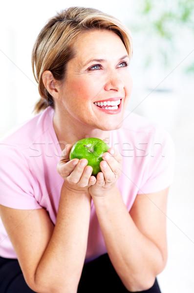Stock fotó: Idős · nő · alma · diéta · egészséges · életmód · étel