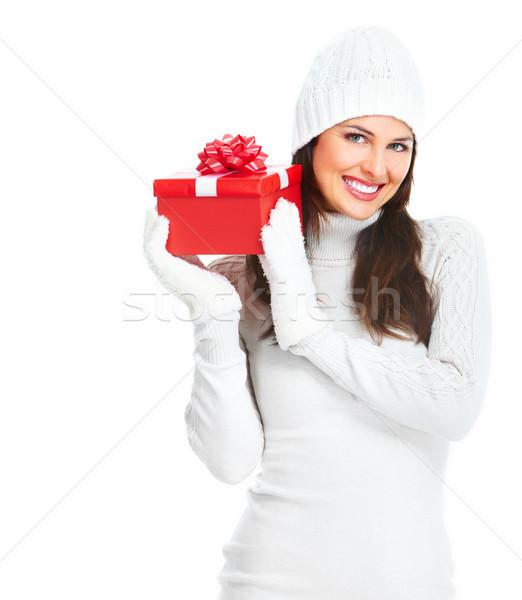 Frumos tineri Crăciun fată cadou prezenta Imagine de stoc © Kurhan