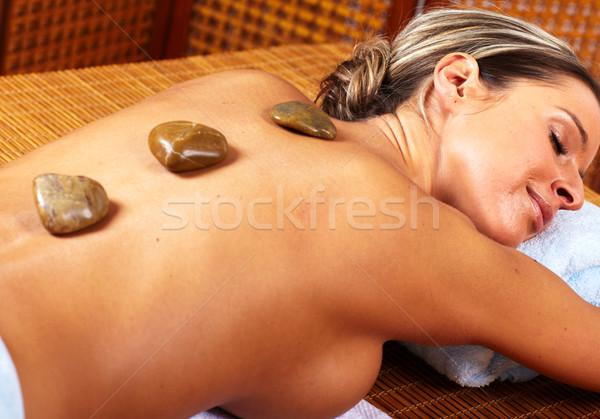 Foto stock: Mulher · jovem · estância · termal · massagem · salão · relaxar · água