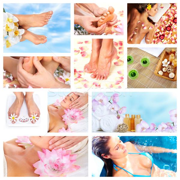 Piękna spa masażu kolaż relaks ludzi Zdjęcia stock © Kurhan