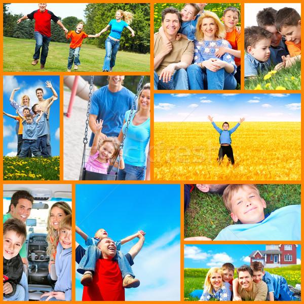 Gelukkig gezin collage mensen buitenshuis familie kinderen Stockfoto © Kurhan