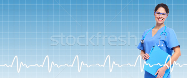 Professional doctor over healthcare background. Stock photo © Kurhan