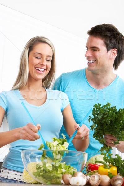 Couple at kitchen Stock photo © Kurhan