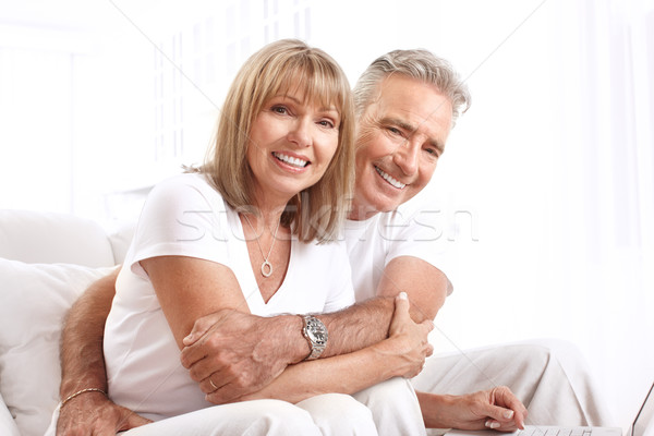Glimlachend gelukkig home familie paar Stockfoto © Kurhan