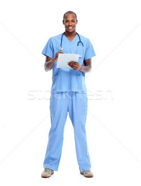 Africano americano médico escrita prescrição homem isolado Foto stock © Kurhan