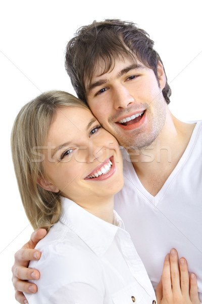 Amour heureux souriant couple blanche Photo stock © Kurhan