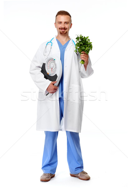 Médico nutricionista balança isolado branco médico Foto stock © Kurhan