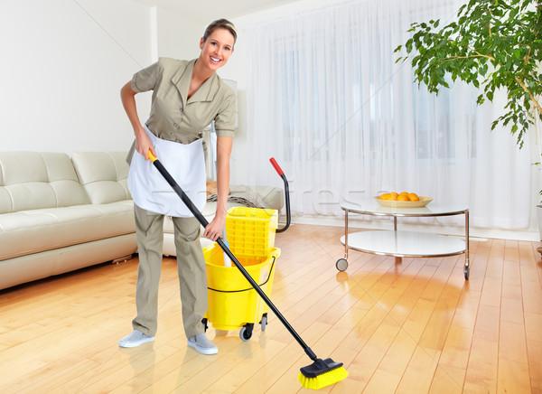 Ev kadını süpürge gülen temizleyici modern daire Stok fotoğraf © Kurhan