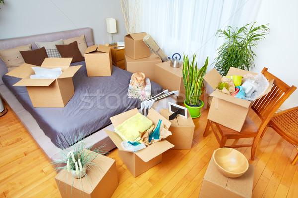 Költözködő dobozok új ház ingatlan ház macska doboz Stock fotó © Kurhan