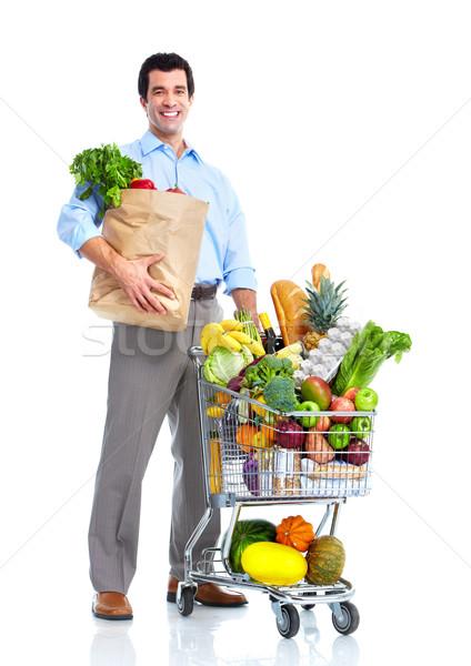 Stock fotó: Boldog · férfi · bevásárlókocsi · vásárlás · áruház · élelmiszer