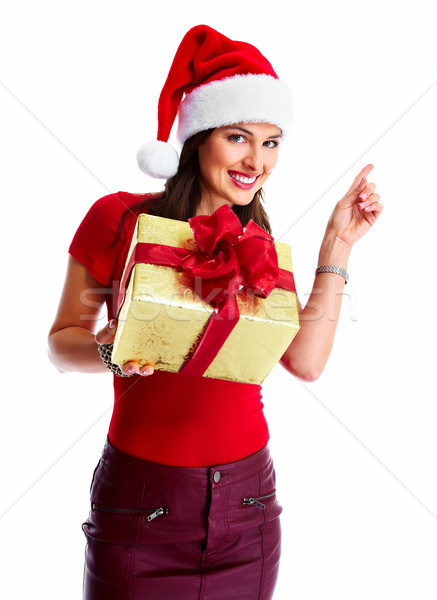 Christmas santa woman with gift. Stock photo © Kurhan