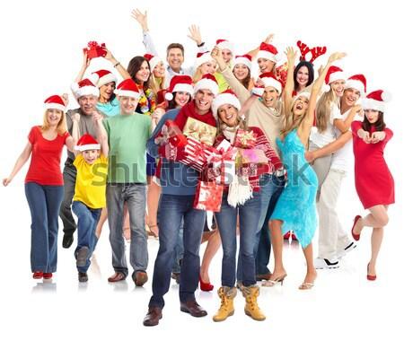 Karácsony mikulás csoport boldog emberek mikulás buli Stock fotó © Kurhan