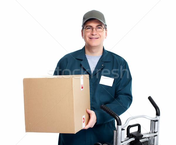 Lieferung Briefträger isoliert weiß Mann LKW Stock foto © Kurhan