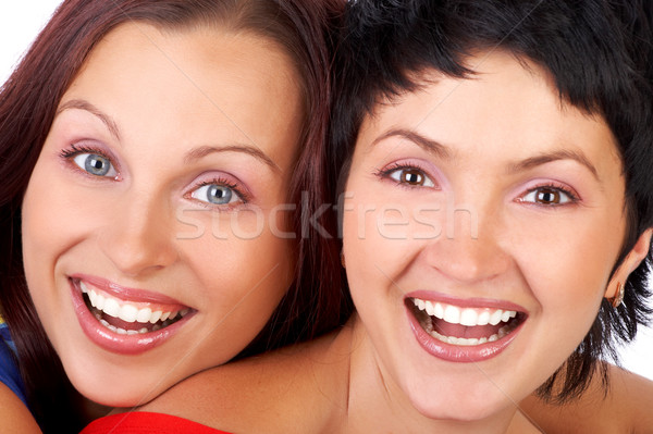 Boldog haverok nevet gyönyörű fiatal nők ölel Stock fotó © Kurhan