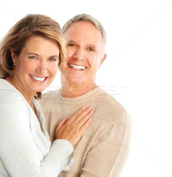 Idősek boldog pár szeretet izolált fehér Stock fotó © Kurhan