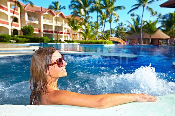 женщину джакузи расслабляющая отпуск Карибы курорта Сток-фото © Kurhan