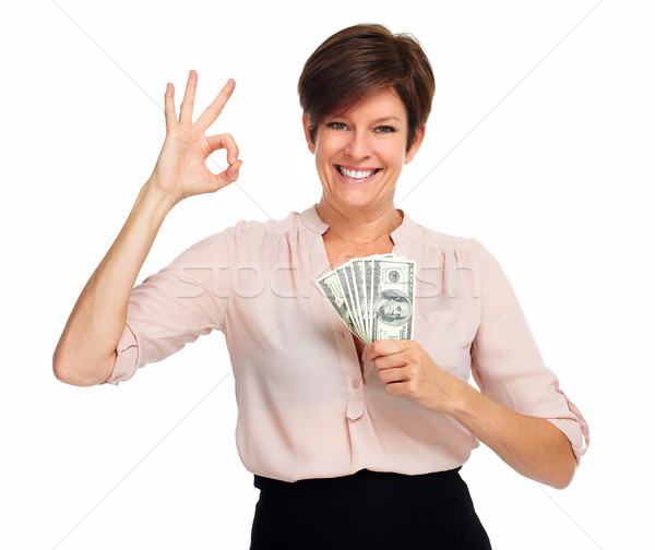 Mature woman with american dollars money. Stock photo © Kurhan