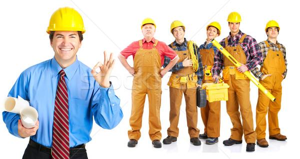 Сток-фото: люди · промышленных · рабочие · изолированный · белый · бизнеса