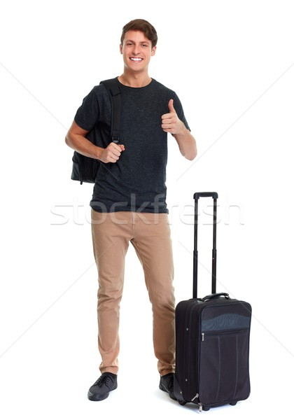 Tourist man with trunk Stock photo © Kurhan