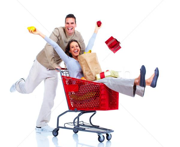 Vásárlás pár boldog izolált fehér nő Stock fotó © Kurhan