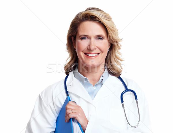 Stockfoto: Glimlachend · medische · arts · vrouw · stethoscoop · geïsoleerd