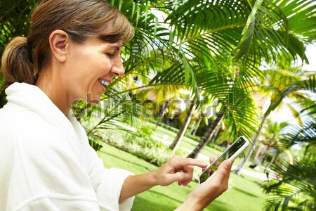 Mulher tropical jardim férias cara Foto stock © Kurhan