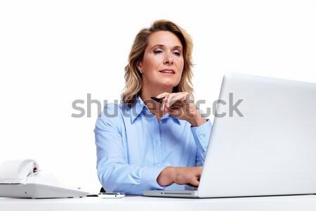 Stockfoto: Zakenvrouw · laptop · computer · boekhouder · geïsoleerd · witte · business