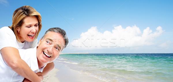 Szczęśliwy starszy para tropikalnej plaży Karaibów wakacje resort Zdjęcia stock © Kurhan