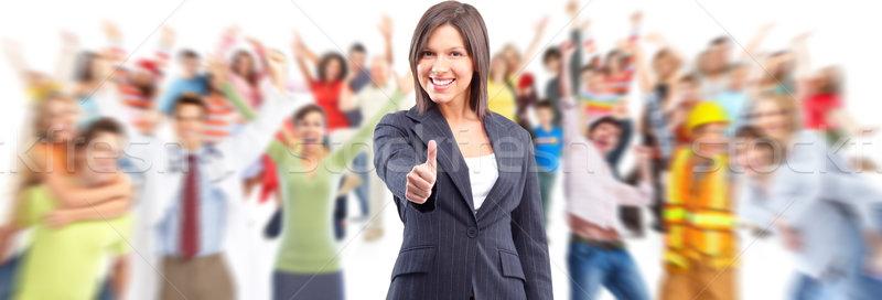 Heureux femme d'affaires souriant pouce succès Photo stock © Kurhan