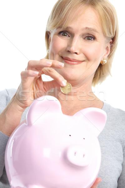 Stockfoto: Vrouw · varken · bank · geïsoleerd · witte · gezicht