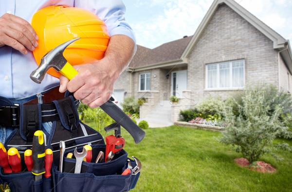 Handen klusjesman tool gordel huis Stockfoto © Kurhan