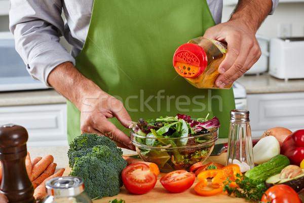 シェフ 男 料理 キッチン 手 食品 ストックフォト © Kurhan